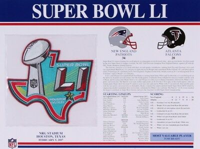 Official NFL Super Bowl LI (51) Patch & Panel by Willabee & Ward