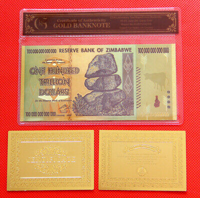 WR Zimbabwe 100 Trillion Dollars Banknote Color Gold Bill Nice Details In Sleeve