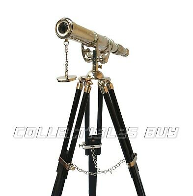 Nautical Anchor Master Desktop Brass Telescope With Wooden Tripod Nickel Finish