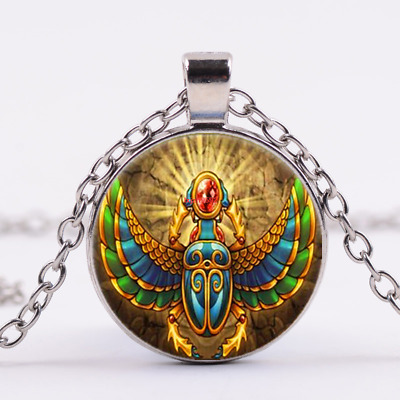 Egyptian Scarab Photo Cabochon Glass Silver Chain Pendant Necklace USA SELLER