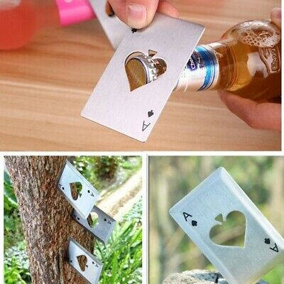 1pc Metal Outdoor Poker Playing Cards Throwing Toy Creative Bottle Opener