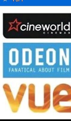 Cineworld or & vue standard and superscreen Cinema Tickets adult no booking fee