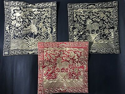 3 pieces chinoiserie Brocade / Silk embroidery