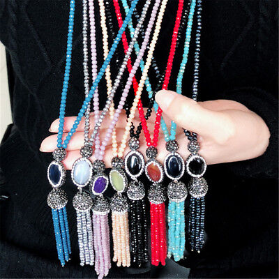 Women's Crystal Beaded Tassel Necklace Long Sweater Chain Jewelry Gifts New