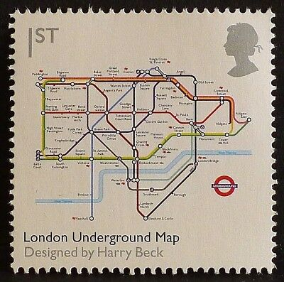 'London Underground Map' illustrated on 2009 stamp - U/M