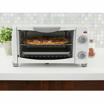 Toaster Oven 4 Slice Fits 9 inch Pizza White Kitchen Bake Broil and Toast 1000W