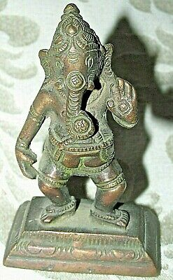 Vintage Antique Ganesh Indian Elephant God Bronze Metal Figurine / Statue 8CMT