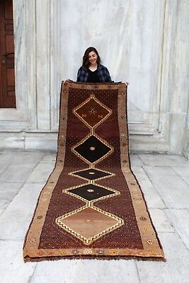 "Antique Handmade Vintage Anatolian Kars Tribal Carpet Area Rug 9'11"" x 3'5"""