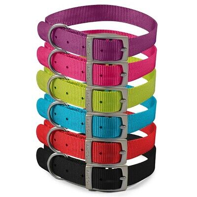 Ancol Heritage Nylon Dog Collar Strong Puppy Weatherproof in Pink Black Blue Red