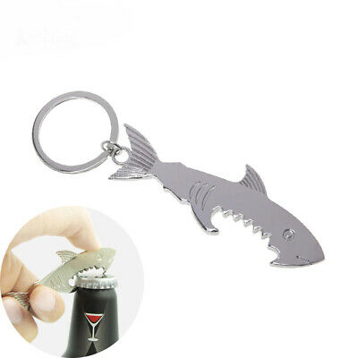 New Ring Silver Gadget Shark Shaped Bottle Opener Beer Can Key Chain