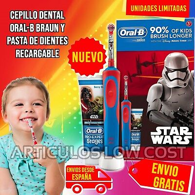 Cepillo de dientes electrico dental Oral-B Braun Star Wars recargable.