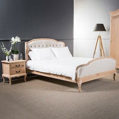 GB53 - French Curved Weathered Limed Oak Wooden Button Linen High Foot Board Bed