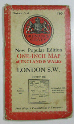 Vintage 1948 OS Ordnance Survey One-inch New Popular Edition Map 170 London S W