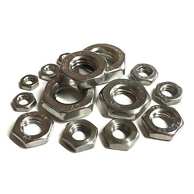 8mm 10mm 12mm 14mm 16mm FINE PITCH Hex HALF NUTS A2 Stainless Thin LOCK DIN439