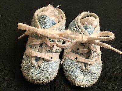 Vintage Blue Terrycloth Athletic Shoes Baby Boy Or Doll