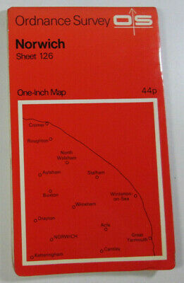 1969 Old Vintage OS Ordnance Survey Seventh Series One-Inch Map 126 Norwich
