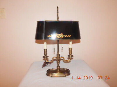 19th CENTURY FRENCH BOUILLOTTE LAMP with Candles and Tôle Peinte Shade