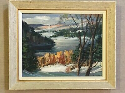 Sydney Berne (1921-2013) Laurentians Quebec Canada Winter Scene Oil/Canvas Board