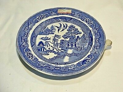 Antique Blue Willow Serving Plate: Hot Water Warming Plate
