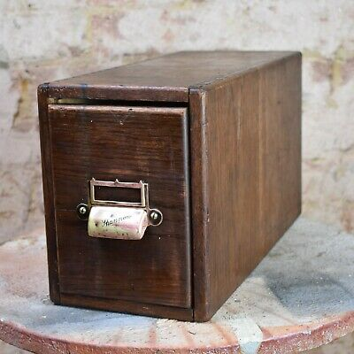 Antique Shannon Deep Filing Drawer Vintage Filing Cabinet Index Card Storage