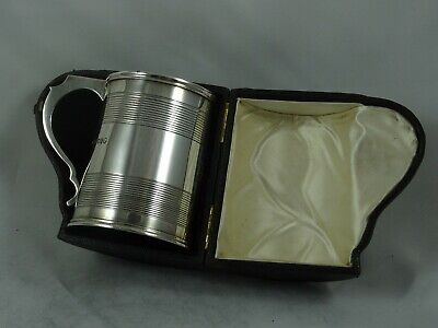 BOXED, QUALITY solid silver VICTORIAN TANKARD, 1882, 183gm