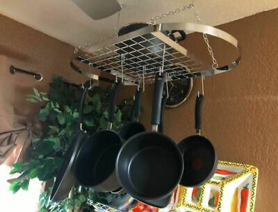 Sorbus Pan And Pot Rack Hang From Ceiling Mount With Hooks Organizer For Kitchen