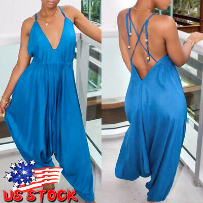 Womens Royal Design Lagenlook Romper Baggy Harem Cami Jumpsuit Playsuit Dress