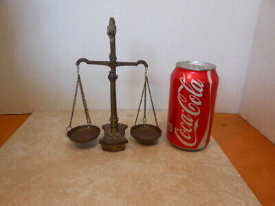 Vintage Antique Brass Balance Double Beam Scale w/ Weights