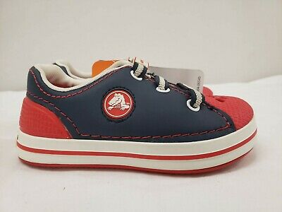 New Crocs Kids Crocband Sneakers, Blue and Red, Size C10