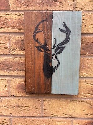 A Pair Of Rustic Stag Art On Reclaimed Wood