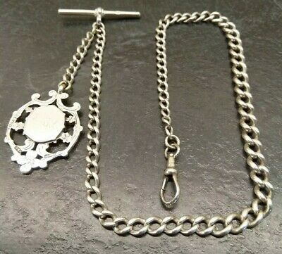 Antique Silver Graduated Albert Pocket Watch Chain With Fob. 33g.