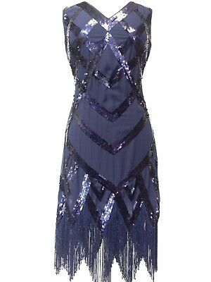 Vintage 1920's Navy Charleston Flapper Gatsby Sequin Tassle Hem Dress New UK 8