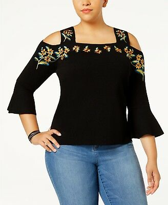 a3ba838d3f1ec Inc International Concepts Plus Size Embroidered Cold-Shoulder Top (0X  Black)