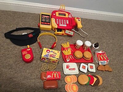 McDonalds Playset With Till Register Food Hat Headset Walkie Talkie Tray & More