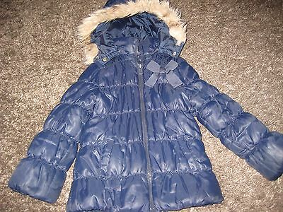 Girls Navy Blue Winter Coat Age 5 H & M