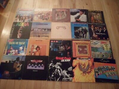 """Lot Of 20 Classic Rock Vinyl 12"""" Inch Records For Crafts Decorations, Low Grade"""