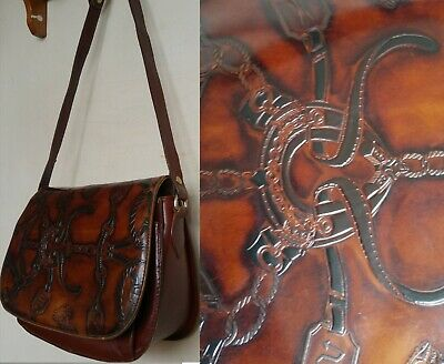 Burgundy Brown Vintage Leather Purse Bag ITALY Equestrian Horse Riding Tooled