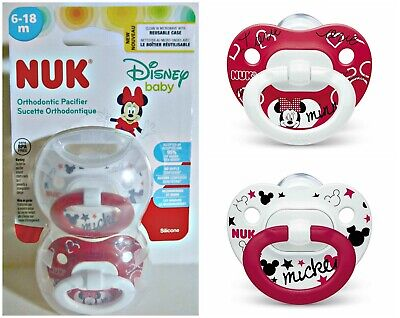 NUK Disney Baby 6-18m Red Minnie & White Mickey Orthodontic Pacifier 2 Pack
