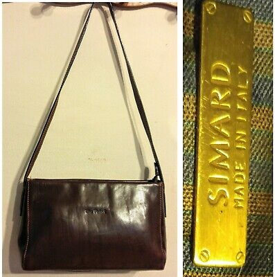 SIMARD ITALY Small LEATHER Shoulder BAG Burgundy Brown MINT Retro Vtg Purse