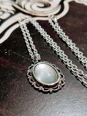 Silver Pearl Metallic Glitter Antique Silver Necklace Vampire Amulet Witch Spell
