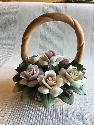Capodimonte Porcelain Flower Basket. Pale pink. Made in Italy