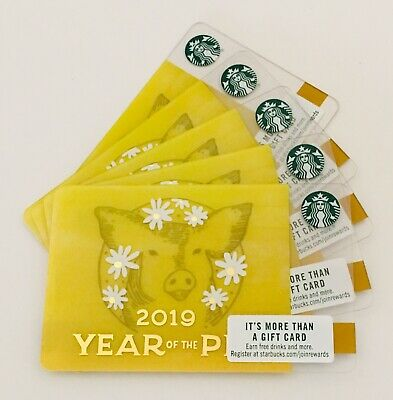 NEW Starbucks Chinese New Year 2019 Gift Card  Year of The Pig Lot of 5