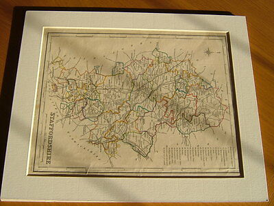Antique Hand Coloured Map Of Staffordshire From Lewis' Topographical Dictionary