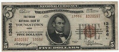 1929 T2 $5 Union National Bank Youngstown Ohio National Banknote Currency Ch VF