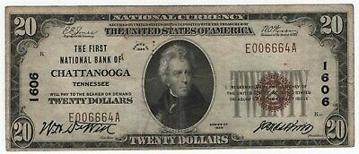 1929 T1 $20 First National Bank Chattanooga Tennessee National Banknote Currency
