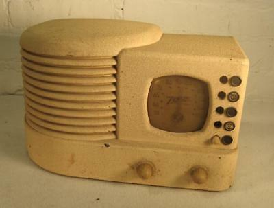 1939 ZENITH 6D312 6D-312 TUBE RADIO - white wrinkle finish RARE