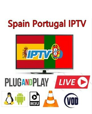 1 Year Spain Portugal IPTV Subscription With 300 Live +1000 VOD