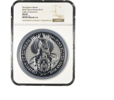 2018 Great Britain 10 oz Silver Queen's Beasts (Griffin) NGC MS69