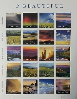 2018 Scott #5298 - Forever -  O BEAUTIFUL - Souvenir Sheet of 20 - Mint NH
