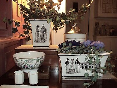 Great City Traders San Francisco Porcelain Planters w Flowers & Ivy (2) Portugal